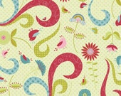 Love Birds Fabric Large Swirls, Birds and Flowers on Kiwi from Riley Blake Designs