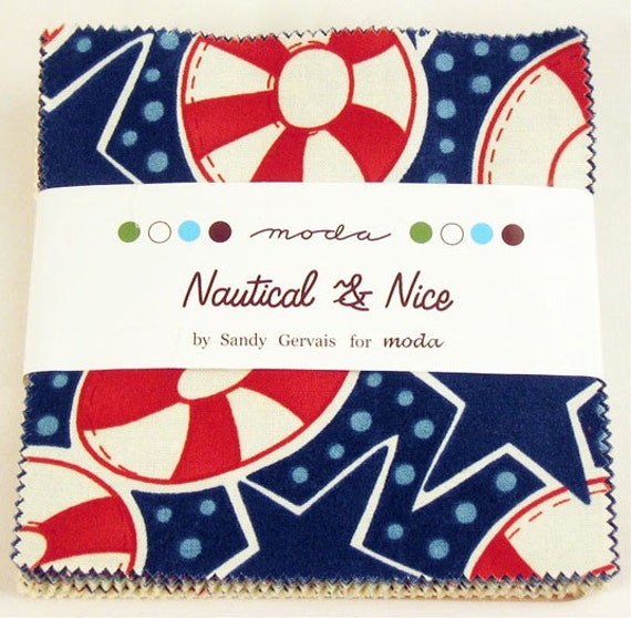 Nautical and nice fabric charm squares 42 fabric precut for Baby themed fabric
