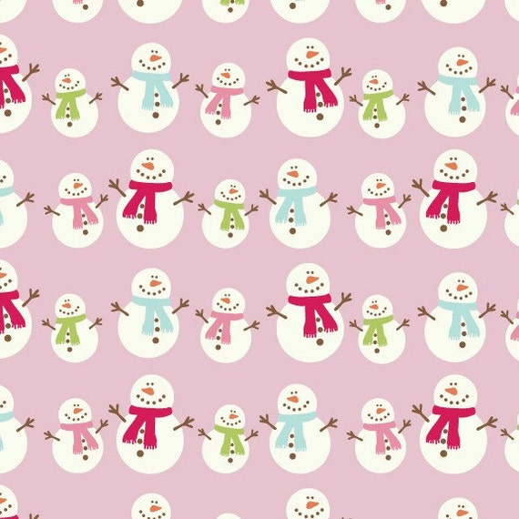 FREE FAT QUARTER WITH PURCHASE OF 1 YARD OF BE MERRY LITTLE SMOWMEN ON PINK FABRIC BY RILEY BLAKE