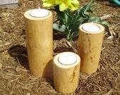 Trio of Hickory tea light holders