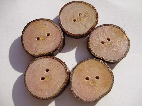 Plum tree buttons - 5 pcs.