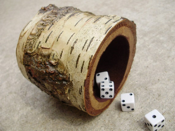 Birch wood dice cup with felted interior