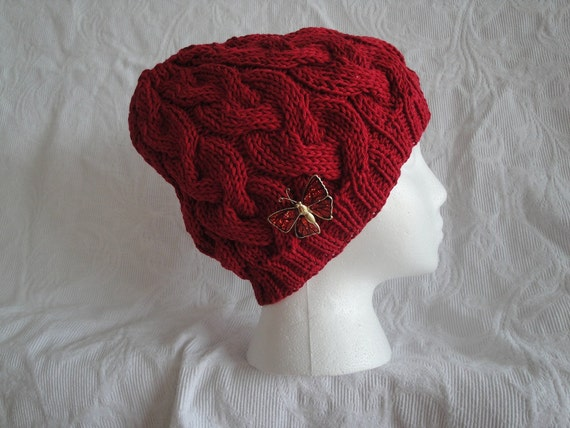 Hand Knit Red Cable Hat w/Butterfly Pin