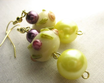 Lampwork earrings  ... flowery lampwork beads with purple and yellow pearls ... the sun's a yellow pearl
