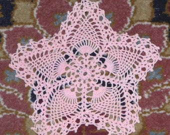 Pink  Crocheted Star Doily  with Pineapple Motif