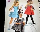 Vintage 1960s Girls Dress Pattern Girls Sleeveless Dress or Jumper and Blouse McCalls size 5