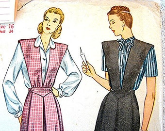 Womens 1940s Maternity Dress Pattern Jumper and Blouse Misses Size 16 UNCUT Vintage Pattern