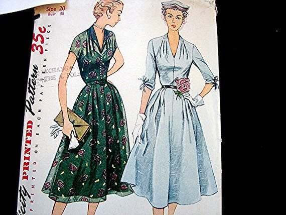 Vintage 1950's Simplicity Misses Dress Pattern with full Skirt Women size 20