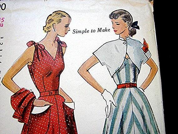 Vintage 1950s Sleeveless Dress Pattern with Bolero Jacket Simplicity Pattern Junior Misses Size 15