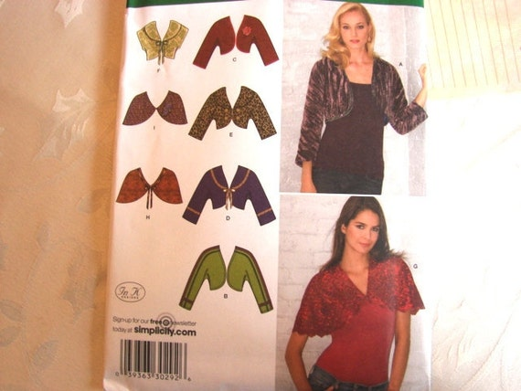 Simplicity Short Shrug Jacket Pattern Misses Boleros and Capelets size 8 10 12 14 16 UNCUT
