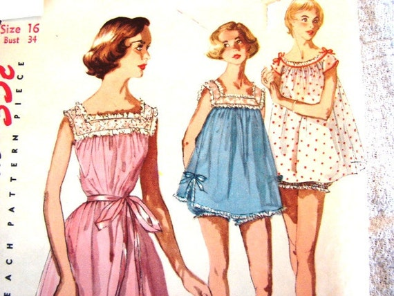 Vintage Simplicity 1950s Misses Nightgown Pattern size 16 Short Baby Doll Nightie