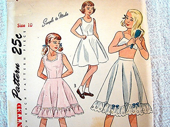 1940s Simplicity Girls Slip and Petticoat Pattern Childrens size 10 UNCUT