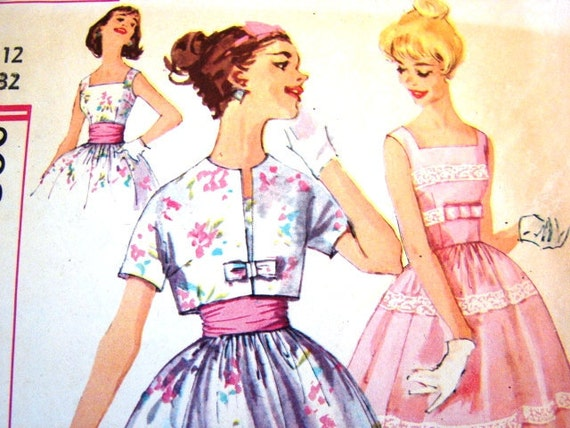 1950s Dress Pattern Simplicity Rockabilly Dress Pattern with Jacket and Cummerbund Misses size 12