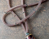 Lampwork Bead Necklace - Amethyst Drum Bead by Louise Little