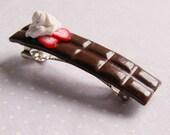 milk chocolate bar barrette hair clip - cute hais accesories