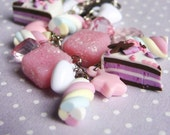 over the rainbow - marshmallow and candy charm bracelet - cute sweet jewelry