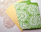 Set of 2 Block printed A7 cards \/\/ Green Doilie