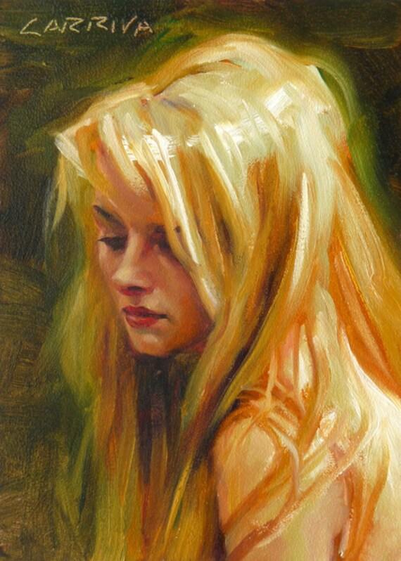 Original Oil Portrait Painting - Halo