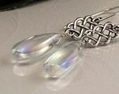 Rainbow Mystic Rock Crystal Quartz Celtic Knot Lattice Earrings - Handmade Summer Fashion