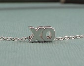 XO Hugs & Kisses Charm Necklace Sterling Silver Chain Girlfriend Gift - Handmade Love Jewelry