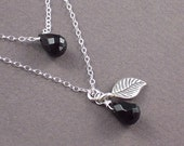 Black Onyx Necklace Double Dose of Layered Gemstones Silver Leaf   - Night Shimmers - Handmade Winter Fashion