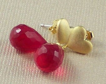Red Quartz  Earrings Gold Heart Chalcedony Gemstone Earrings Post Earrings Valentines Day Gift  - SweetHeart
