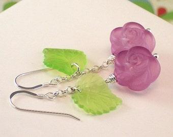 Vintage Purple Flower And Green Leaf Sterling Silver Earrings - Purple Garden - Handmade Spring Fashion