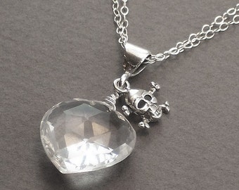 Rock Crystal Heart Skull Crossbone Necklace - Cold As Ice - Handmade Winter Fashion