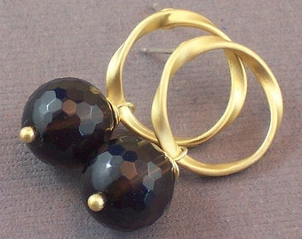 Smokey Quartz Earrings Gold Circle Stud Earrings - Chocolate Truffles - Handmade Winter Fashion