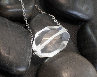 Jumbo Rock Crystal Nugget Necklace -  Iceberg