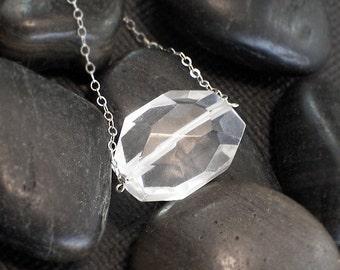 Jumbo Rock Crystal Nugget Necklace -  Iceberg