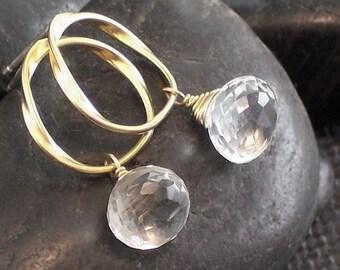 Rock Crystal Gemstone Gold Circle Sterling Silver Posts Stud Earrings - Rock My World - Handmade Holiday Wedding Jewelry