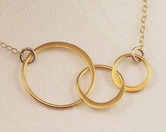 Past Present Future 3 Link Circle Gold Necklace - Past Present Future - Office Jewelry - Forever love necklace