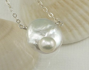 Solitaire Blister Coin Pearl Necklace Sterling Silver Exotic Unique Summer Outdoor ne