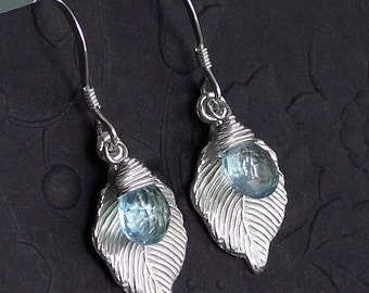 Just For Me Blue Topaz Leaf Dangle Earrings