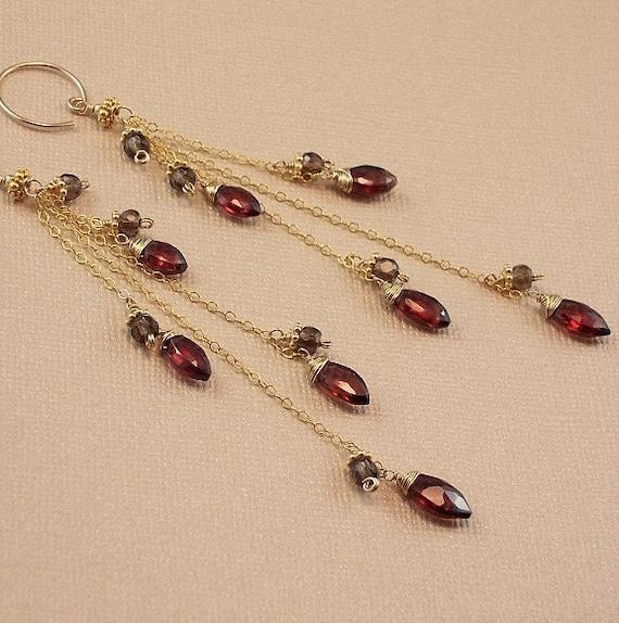 Garnet Earrings Smokey Quartz Earrings Long Gold Tassel Earrings January Birthstone - Chocolate Cherry Explosion - Handmade 2012 Fashion