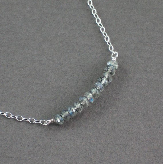Labradorite Necklace Silver or Gold Chain Interrupted By Gemstones - David  Interrupted - Handmade Spring Fashion