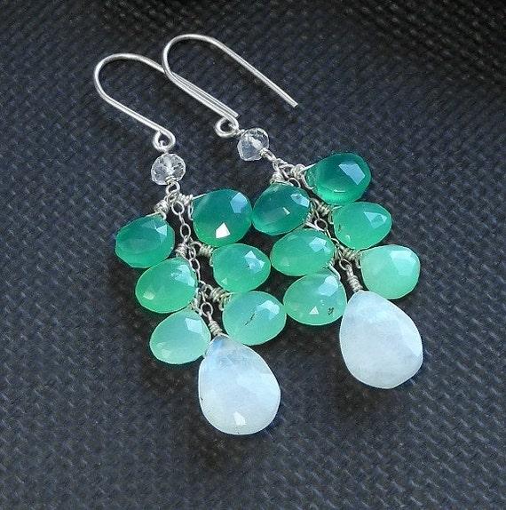 SALE - Pistachio Crunch - Cascading Shaded Gemstone Earrings - Green Onyx Chrysoprase  Moonstone