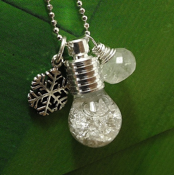 Moonstone Necklace Snow Globe Snow Flake Sterling Silver Snowflake Charm Gemstone - Magical Snow Dreams -  Handmade Winter Fashion