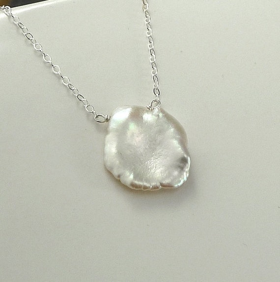 Large Keishi Necklace Sterling Silver or 14K Gold Filled Solitaire Necklace Petal Pearl - Summer Outdoor June Birthstone