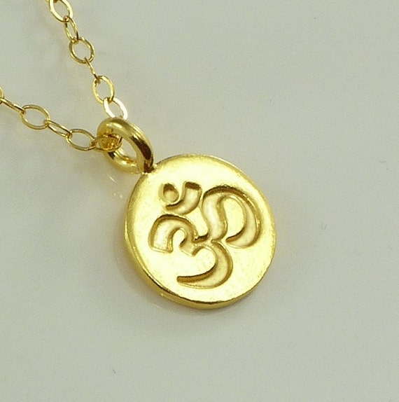 OM Charm Gold Necklace Vermeil 14K Gold Filled Chain Yoga Lover Meditation Jewelry -  Handmade Office Fashion