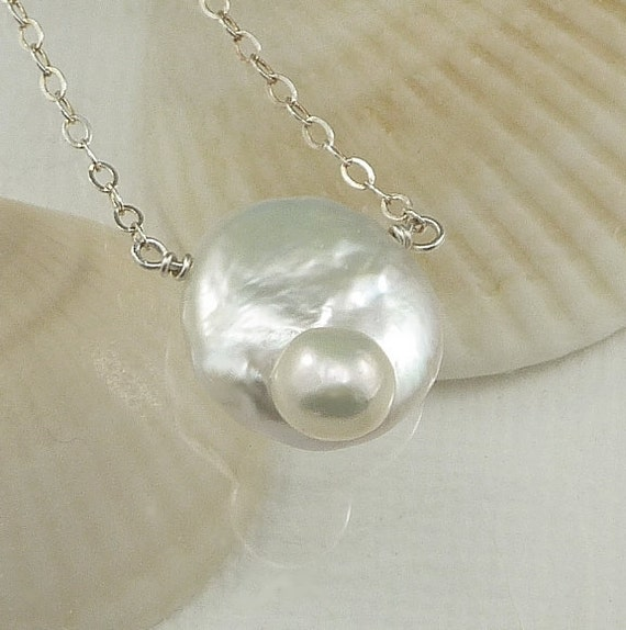 Solitaire Blister Coin Pearl Necklace Sterling Silver Exotic Unique Bridesmaid Wedding Jewelry Simple Beach Fashion