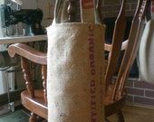 Tall Recycled Coffee Sack Market Tote - Previously Carried Organic Fair Trade Beans