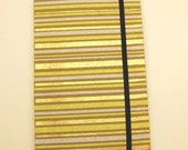 Large Weekly Organizer\/Planner with elastic and ribbon, Gold Stripes
