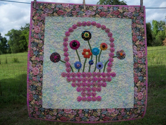 Flowers in Bloom Basket Bouquet Quilted Wall Hanging Mothers Day Gift Yo Yo Quilt