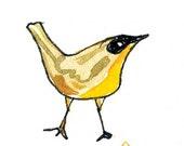Yellowthroat Bird Illustration 5x7 print of my original watercolor