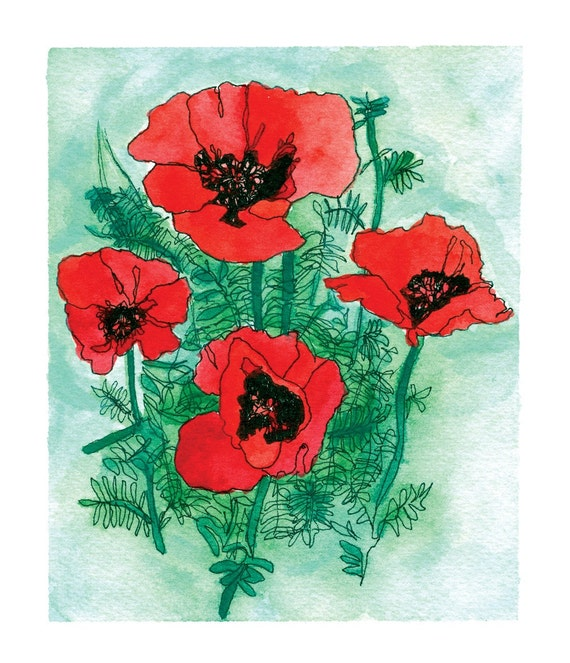 Poppies Fine Art Print from The Exuberant Garden hardcover book