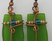 Glass Earrings - wirewrapped recycled green beer bottle glass, FREE SHIPPING.
