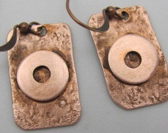 Recycled Copper Earrings. Copper Rectangle Washer Earrings. Copper Dangle Earrings.