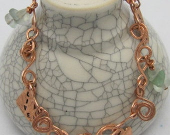 Copper Charm Bracelet ,Circle of Life, Squiggles, twirls and handmade charms. ONSALE.